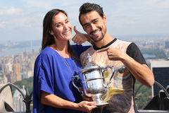 US Open 2015 champion Flavia Pennetta and tennis player Fabio Fognini posing with US Open trophy on the Top of the Rock Stock Images