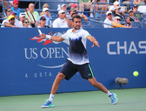 US Open 2014 champion Marin Cilic from Croatia during US Open 2014 round 4 match Stock Image