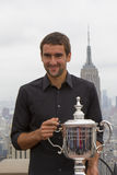 US Open 2014 champion Marin Cilic posing with US Open trophy on the Top of the Rock Observation Deck at Rockefeller Center Stock Photos