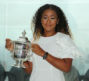 2018 US Open champion Naomi Osaka of Japan poses with US Open trophy on the Top of the Rock Observation Deck at Rockefeller Center Stock Photo