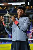 2018 US Open champion Naomi Osaka of Japan of United States posing with US Open trophy during trophy presentation Stock Photography