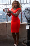 US Open 2014 champion Serena Williams posing with US Open trophy on the top of Empire State building Stock Photography