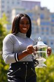 US Open 2017 champion Sloane Stephens of United States posing with US Open trophy in Central Park Royalty Free Stock Photography