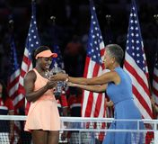 US Open 2017 champion Sloane Stephens of United States receives US Open trophy during trophy presentation Royalty Free Stock Photography