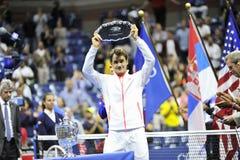 US Open 2015 (14) di Federer Roger (SUI) Immagine Stock Libera da Diritti