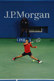 US Open 2013 finalist  Novak Djokovic during his final match against champion Rafael Nadal Royalty Free Stock Photos