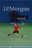 US Open 2013 finalist Novak Djokovic tijdens zijn definitieve gelijke tegen kampioen Rafael Nadal Royalty-vrije Stock Foto's