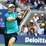 US Open 2017 finalista Kevin Andersen Południowa Afryka w akci podczas jego us open 2017 definitywnych dopasowań Zdjęcia Stock
