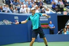 US Open 2017 finalista Kevin Andersen Południowa Afryka w akci podczas jego us open 2017 definitywnych dopasowań Obraz Stock