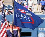 US Open flaga podczas us open 2017 kopii trofeum mieszającej prezentaci Zdjęcia Stock