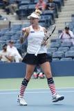 US Open 2016 Frauendoppelte verfechten Bethanie-Mattek-Sande von Vereinigten Staaten in der Aktion während des Endspiels Stockfotografie
