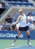 US Open 2016 Frauendoppelte verfechten Bethanie-Mattek-Sande von Vereinigten Staaten in der Aktion während des Endspiels Lizenzfreies Stockfoto