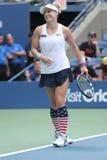 US Open 2016 Frauendoppelte verfechten Bethanie-Mattek-Sande von Vereinigten Staaten in der Aktion während des Endspiels Stockfoto
