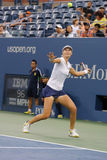 US Open 2014 Frauendoppelte verfechten Ekaterina Makarova während des Endspiels bei Billie Jean King National Tennis Center Lizenzfreies Stockfoto