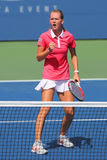US Open 2014 girls junior champion Marie Bouzkova from Czech Republic during final match Royalty Free Stock Images