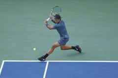 US Open 2013 kampioen Rafael Nadal tijdens definitieve gelijke tegen Novak Djokovic Stock Fotografie