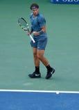 US Open 2013 kampioen Rafael Nadal tijdens zijn definitieve gelijke tegen Novak Djokovic Stock Foto
