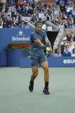 US Open 2013 kampioen Rafael Nadal tijdens zijn definitieve gelijke tegen Novak Djokovic in Billie Jean King National Tennis Cent Royalty-vrije Stock Afbeelding