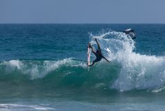 US Open Kanoa Igarashi Throws Tail To Win des Surfens Lizenzfreie Stockbilder