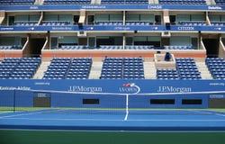 US Open logo at Arthur Ashe Stadium. NEW YORK - AUGUST 22, 2017: US Open logo at Arthur Ashe Stadium at Billie Jean King National Tennis Center in New York. US royalty free stock photos