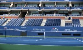 US Open logo przy Arthur Ashe stadium fotografia royalty free