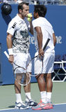 US Open 2013 men doubles champions Radek Stepanek from Czech Republic and Leander Paes from India during semifinal match Stock Photography