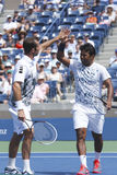 US Open 2013 men doubles champions Radek Stepanek from Czech Republic and Leander Paes from India during semifinal match Stock Images