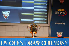 US Open Men singles trophy presented at the 2014 US Open Draw Ceremony Royalty Free Stock Photo