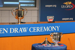 US Open Men and Women singles trophies presented at the 2014 US Open Draw Ceremony Stock Photo