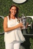 US Open 2015 mistrz Flavia Pennetta uczęszcza 2016 us open dnia premierego Zdjęcia Stock