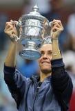 US Open 2015 mistrz Flavia Pennetta Włochy podczas trofeum prezentaci po kobiety definitywnego dopasowania przy us open 2015 Zdjęcie Royalty Free