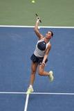 US Open 2015 mistrz Flavia Pennetta Włochy w akci podczas jej definitywnego dopasowania przy us open 2015 Zdjęcia Stock