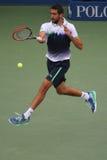 US Open 2014 mistrz Marin Cilic podczas definitywnego dopasowania przeciw Kei Nishikori przy Billie Cajgowego królewiątka tenisa  Obrazy Royalty Free