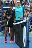 US Open 2017 mistrz Rafael Nadal Hiszpania L Kevin Andersen i finalista Południowa Afryka przed mężczyzna ` s przerzedże definity Zdjęcia Royalty Free