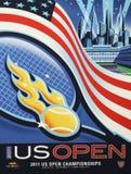 US Open 2011 plakat na pokazie przy Billie Cajgowego królewiątka tenisa Krajowym centrum zdjęcia stock