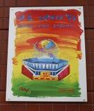US Open 1997 plakat na pokazie przy Billie Cajgowego królewiątka tenisa Krajowym centrum w Nowy Jork Zdjęcia Royalty Free