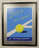 2018 US Open poster on display at the Billie Jean King National Tennis Center in New York Royalty Free Stock Photo