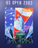 US Open 2003 poster on display at the Billie Jean King National Tennis Center Stock Images
