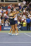 US Open 2014 women doubles champions Ekaterina Makarova and Elena Vesnina celebrate victory Stock Images
