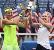 US Open 2016 women doubles champions  Lucie Safarova (L) of Czech Republic and Bethanie Mattek-Sands of United States Royalty Free Stock Photography