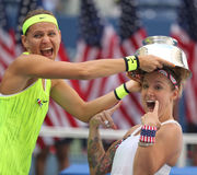 US Open 2016 women doubles champions  Lucie Safarova (L) of Czech Republic and Bethanie Mattek-Sands of United States Royalty Free Stock Photo