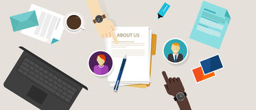 About us page concept icon draft profile company Royalty Free Stock Image