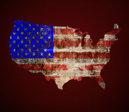 US painted map on dirty old grunge Royalty Free Stock Photography