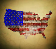 US painted map on dirty old grunge Royalty Free Stock Photos
