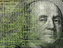 Us paper currency and binary code. Conceptual background image of us paper currency and binary code Royalty Free Stock Photos