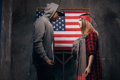 US parents in quarrel. Man and woman in conflict Royalty Free Stock Images