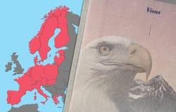 US-Pass auf Visumsseite als Konzept für ETIAS überprüfen herein EU stockfoto