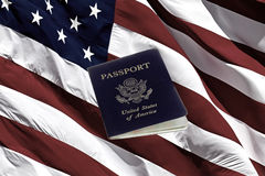 US Passport and American Flag Stock Images