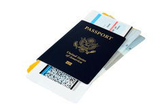 US passport with boarding passes Stock Images