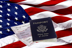 US Passport, Boarding Passes and American Flag Stock Photos